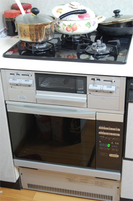 茨木市 ガスオーブンとガラストップコンロの入替